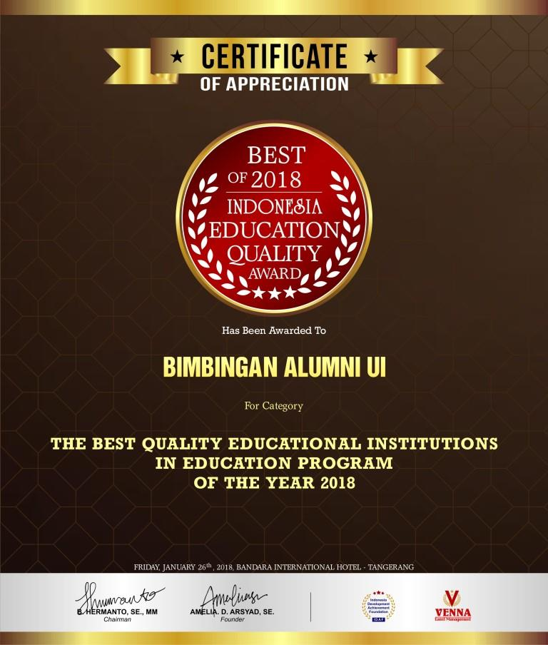 THE BEST QUALITY EDUCATIONAL INSTITUTIONS IN EDUCATION PROGRAM OF THE YEAR 2018.